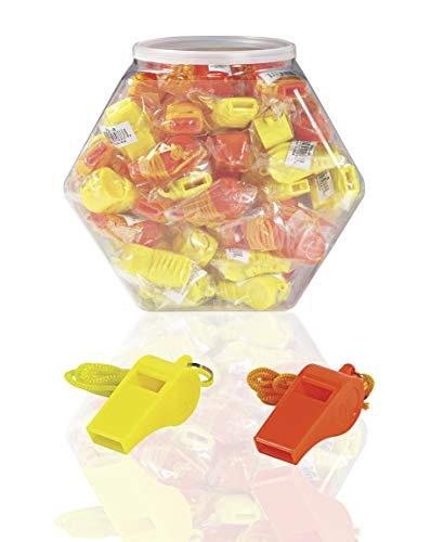 "SE  1 SE Orange Plastic Whistles with 14"" Lanyards (100 PC.) - WH3-B-100"