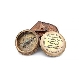 "Roorkee Instruments India Survival Compass 1 Unusual Gifts Famous Quote""Do not go Where The Path""Compass with case"