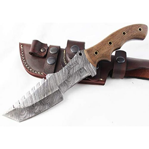Moorhaus Fixed Blade Survival Knife 1 Moorhaus Damascus Knife Handmade Tanto Tracker - Walnut Wood Handle - Includes Leather Sheath - Special Promotional Pricing