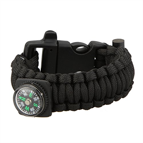 Leepesx  1 Leepesx Multi-Color Paracord Parachute Cord Emergency Kit Survival Bracelet Rope with Whistle Buckle Compass Flint Fire Starter Outdoor Camping