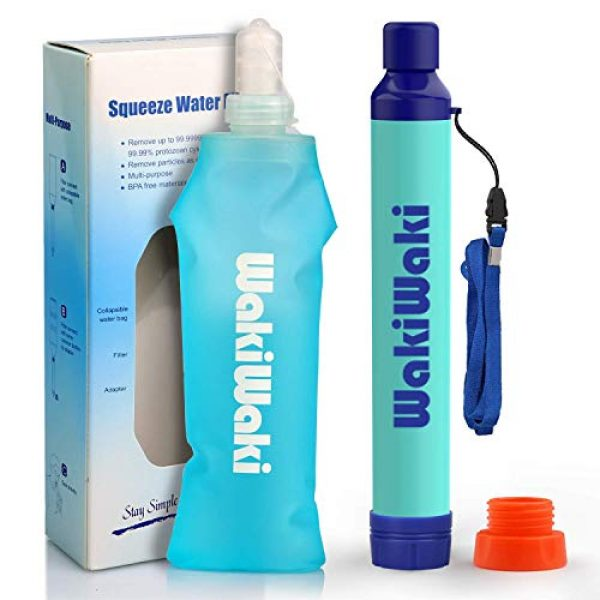 Membrane Solutions Survival Water Filter 1 Membrane Solutions Water Bottle with Straw,Multi-Function Water Filter System with 3-Stage Filtration for Hiking, Camping