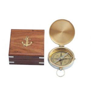 "Hampton Nautical Survival Compass 1 Hampton Nautical Solid Brass Gentlemen's Compass with Rosewood Box, 4"", Brass"