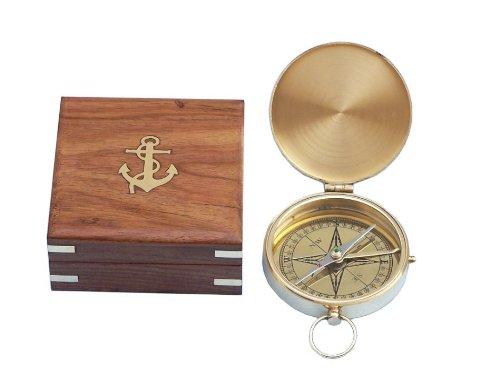 Hampton Nautical  1 Hampton Nautical Solid Brass Gentlemen's Compass with Rosewood Box