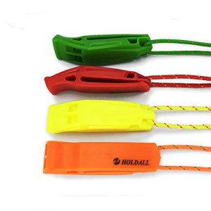 HOLDALL Survival Whistle 1 HOLDALL Emergency Safety Whistle with Lanyard, Loud Pea-Less Whistles for Boating Kayaking Life Vest Survival Rescue Signaling.