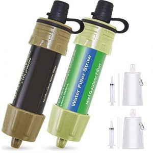 Lixada  1 Lixada 2PCS Water Filter Straw with 5000L Filtration 0.01 Micron Purifier Survival Gear for Hiking