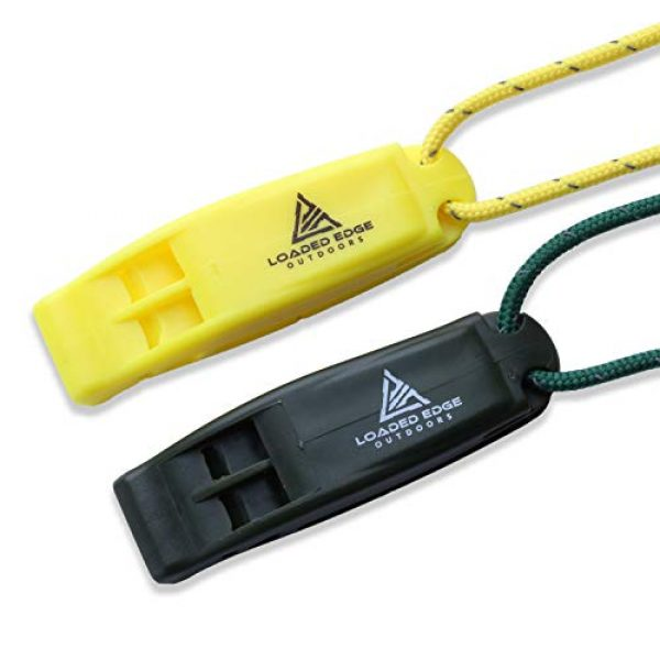 Loaded Edge Survival Whistle 1 Safety Survival Whistle Emergency Running Whistles with Lanyard (2 Pack) Green/Yellow - Extra Loud - Perfect for Hiking, Boating, Camping, Hunting, Biking & More U.S. Veteran Owned Company