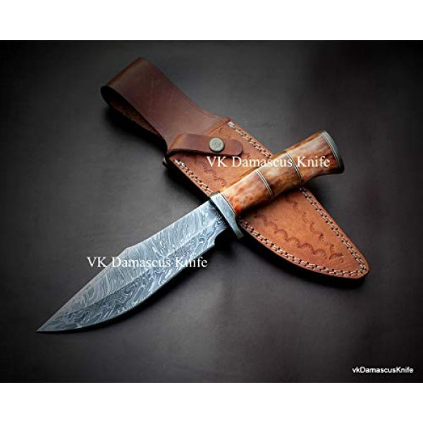 JNR Traders Fixed Blade Survival Knife 1 JNR Traders vk0077 Handmade Damascus Steel Bowie Hunting Knife Camel Bone Handle 12.50 Inches