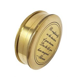 Brass Nautical Survival Compass 1 Brass Nautical - Go Confidently in The Direction of Your Dreams Thoreau's Quote Compass W/Case