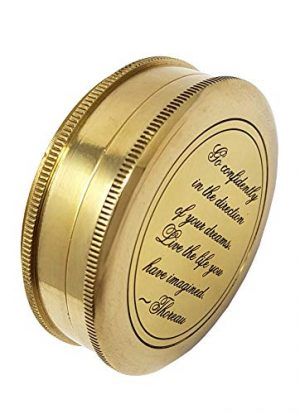 Brass Nautical  1 Brass Nautical - Go Confidently in The Direction of Your Dreams Thoreau's Quote Compass W/Case