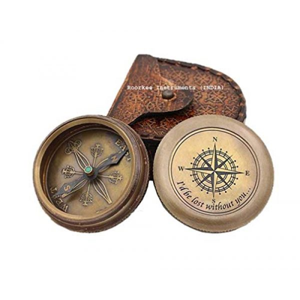 Roorkee Instruments India Survival Compass 1 ROORKEE INSTRUMENTS (INDIA) A NAUTICAL REPRODUCTION HOUSE I Would be Lost Without You Compass with Leather Case.