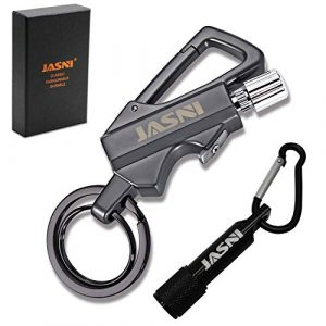 Jasni  1 Keychain Multitool with Flint Metal Matchstick Fire Starter Bottle Opener Mountaineering Buckle Mini Flashlight