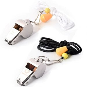 Runtasty  1 [Voted No.1 Whistles] Premium Metal Whistle Pack of 2 with Adjustable & Removable Lanyard. Ideal for Survival