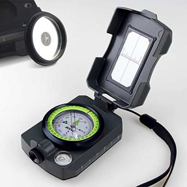 AOFAR Survival Compass 1 AOFAR AF-4090 Multifunctional Military Compass Waterproof and Shakeproof with Signal Mirror,Whistle,Fishing Hook and Line for Camping,Boy Scount,Geology Activities Boating