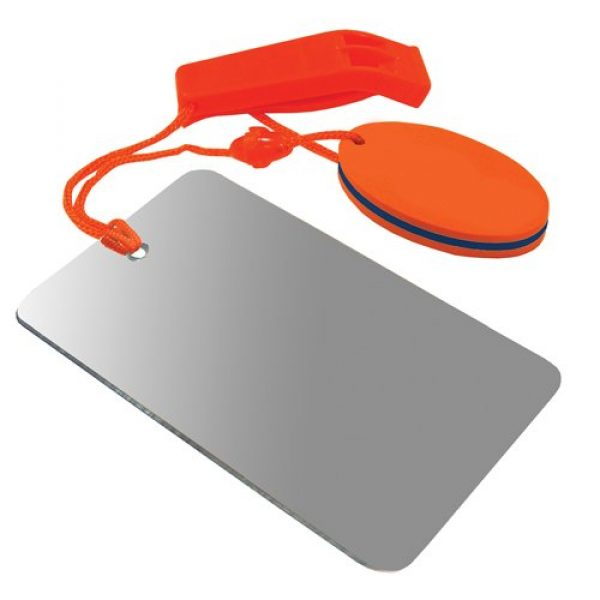 UST Survival Whistle 1 UST Find-Me Signal Mirror & Hear-Me Floating Whistle Combo with Three Wilderness Essentials in One, Including a Signaling Mirror, Emergency Whistle and Orange Float; Great for Camping, Backpacking and Survival