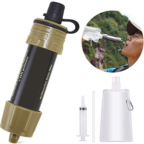 Lixada  1 Lixada Water Filter Straw with 5000L Filtration 0.01 Micron Purifier Survival Gear for Hiking