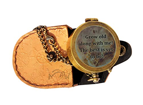 MAH Survival Compass 1 MAH Grow Old with ME Engraved Brass Compass ON Chain with Leather CASE, Directional Magnetic Compass. C-3273