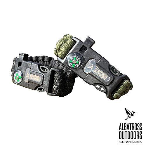 Albatross Outdoors  1 Albatross Outdoors Paracord Survival Bracelet |Set of 2| - Fully Adjustable in Size - Integrated Compass
