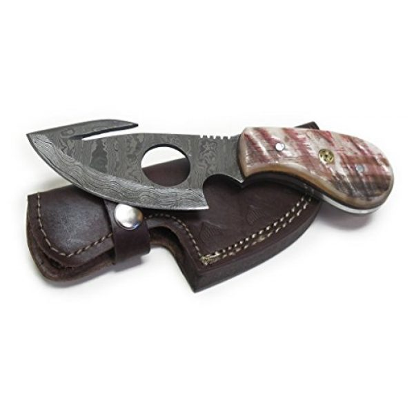 Wild Turkey Handmade Fixed Blade Survival Knife 6 Wild Turkey Handmade Damascus Steel Color Bone Handle Fixed Blade Full Tang Skinner Knife w/Leather Sheath Hunting Camping Fishing Outdoor