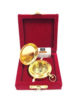 """RedSkyTrader  1 1 3/4"""" Brass Face Pocket Compass w/Cover: Hiking and Camping"""