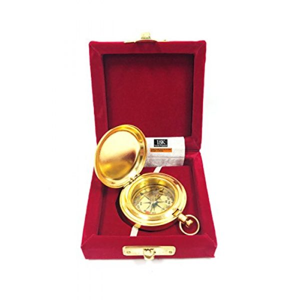 "RedSkyTrader Survival Compass 1 1 3/4"" Brass Face Pocket Compass w/Cover: Hiking and Camping"