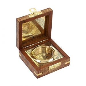 Shop LC Delivering Joy  1 Shop LC Delivering Joy Handcrafted Wooden Box with Built in Goldtone Compass Camping