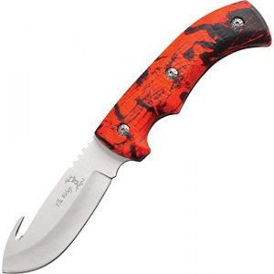 Elk Ridge Fixed Blade Survival Knife 1 Elk Ridge - Outdoors Fixed Blade Knife - 8.75-in Overall, 3.5-in Satin Finish Stainless Steel Blade, Full Tang Construction, Red Camo Coated Rubber Handle, Nylon Sheath - ER-274RC