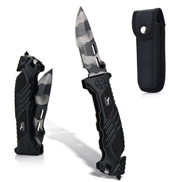 Freehawk Folding Survival Knife 1 Freehawk Multipurpose Survival Hunting Folding Knife Stainless Steel Blade Serrated with Wave Feature Knife Sheath in Black