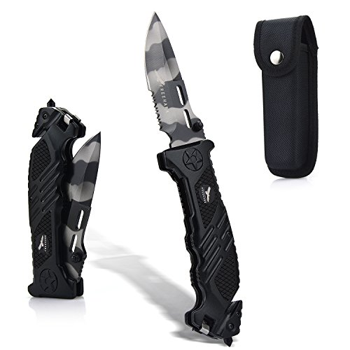 Freehawk  1 Freehawk Multipurpose Survival Hunting Folding Knife Stainless Steel Blade Serrated with Wave Feature Knife Sheath in Black