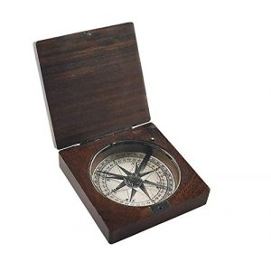 Authentic Models Survival Compass 1 Authentic Models, Lewis & Clark Compass - Honey Distressed French Finish