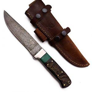 WolfKlinge Fixed Blade Survival Knife 1 WolfKlinge DCX17-50 Handmade Damascus Steel Hunter, Sheep Horn + Stone Handle, with Cowhide Leather Sheath