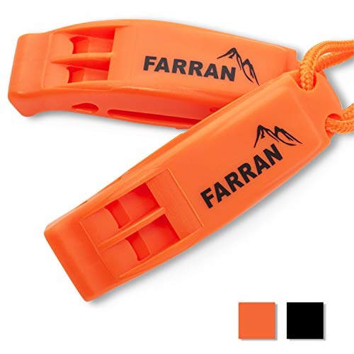 Farran Outdoor  1 Farran Outdoor Emergency Safety Whistle Lightweight Plastic Survival Whistles with Lanyard and Clip Good for Car Rescue Gear Walking Hiking Boating Fishing Camping Travel Backpacking (2 Pack)