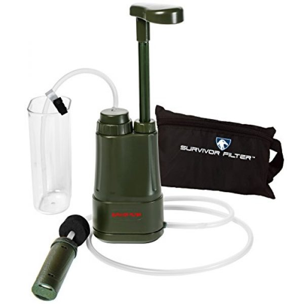 Survivor Filter Survival Water Filter 1 Survivor Filter PRO - Virus and Heavy Metal Tested 0.01 Micron Water Filter for Camping, Hiking, and Emergency. 3 Stages - 2 Cleanable 100,000L Membranes and a Carbon Filter for Family Preparedness