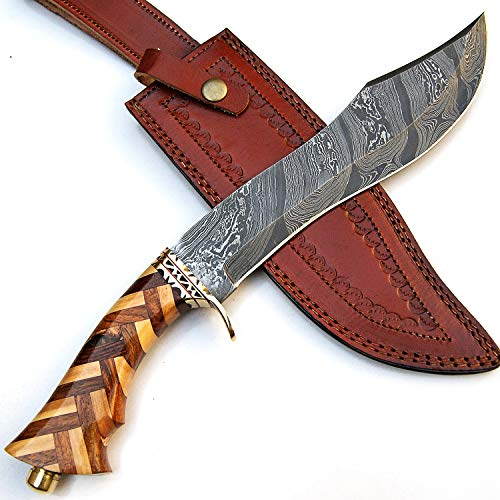 PAL 2000 KNIVES  3 Custom Handmade Damascus Steel Hunting Bowie Knife -Sword/Chef Kitchen Knife/Dagger/Full Tang/Skinner/Axe/Billet/Cleaver/Bar/Folding Knife/Kukri/knives accessories/survival/Camping With Sheath 9181