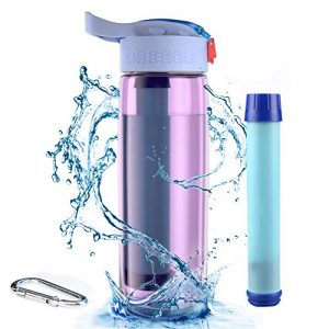 Hipoten Survival Water Filter 1 Hipoten Water Filter Bottle, 650ml Emergency Water Purifier with 4-Stage Integrated Filter Straw for Travel, Camping, Hiking, Backpacking, BPA Free