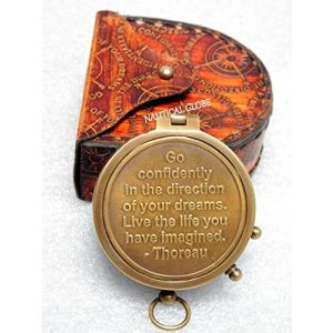 Meridian Nauticals Survival Compass 1 KHUMYAYAD Thoreau's Go Confidently Brass Engraved Compass with Stamped Leather Case