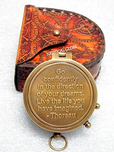 Meridian Nauticals  1 KHUMYAYAD Thoreau's Go Confidently Brass Engraved Compass with Stamped Leather Case