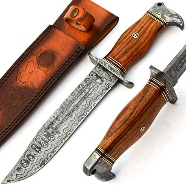 PAL 2000 KNIVES Fixed Blade Survival Knife 1 PAL 2000 KNIVES - Handmade Damascus Knife 13 Inches Rose Wood Handle with Sheath 9660