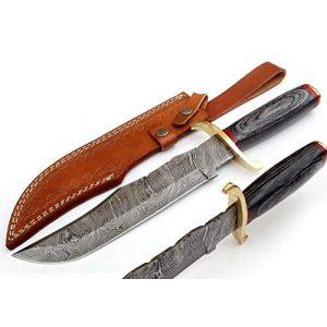SharpWorld Fixed Blade Survival Knife 1 SharpWorld 15 Inches Custom Damascus Knife Black Wood Handle w/Brown Leather Sheath TJ118