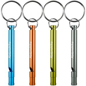 FineGood Survival Whistle 1 FineGood Aluminum Whistles, 4 Pack Emergency Survival Whistles with Key Ring Chain for Sport Referee Hiking Camping Climbing