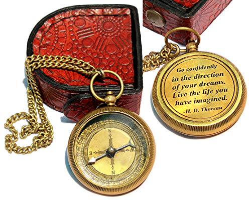 Sara Nautical Survival Compass 1 Sara Nautical Go Confidently Thoreau's Quote Engraved Compass with Leather Case.
