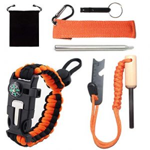 LEDAO  1 Camping Gear Fire Starter Whistle Paracord Bracelet Collapsible Pocket Fire Bellows.for Outdoor Camping Hiking BBQ.