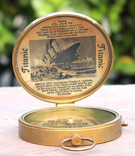 collectiblesBuy  1 Collectibles Buy Antique Lid Titanic Compass Brass Finish Vintage Nautical Sailor Article - Maritime Magnetic Gift