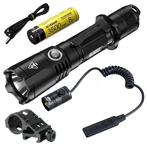 Nitecore  1 Nitecore MH25GTS 1800 Lumen USB Rechargeable Tactical Flashlight RSW2D Pressure Switch and LumenTac Offset Mount