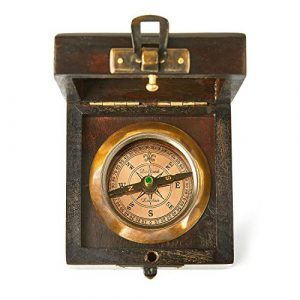 Super7One  1 Super7One Antique Vintage Brass Compass in Wooden Box
