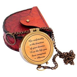 Sara Nautical Survival Compass 1 Sara Nautical Thoreau's Go Confidently Quote Engraved Compass with Stamped Leather case Camping Compass Engraved with Gift Compass.