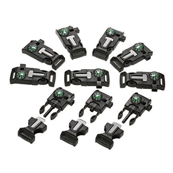 Lixada Survival Buckle 1 Lixada 10Pcs Emergency Whistle Buckle with Flint Scraper Fire Starter and Compass for Outdoor Camping Hiking Paracord Bracelet