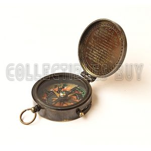 collectiblesBuy Survival Compass 1 collectiblesBuy Antique Vintage Compass Pocket Brass Authentic Sailor, 2 inch, Brown