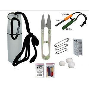 VAS First Response Survival Fire Starter 1 VAS Black Ops Water Proof Camping Survival Tote Survival Essentials & Fire Kit | Flint Rod Fire Starter | Emergency Whistle | UCO Survival Matches | Cotton Balls | Survival Scissors | Safety Pins