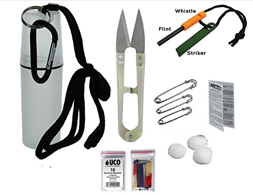 VAS First Response Survival Fire Starter 1 VAS Black Ops Water Proof Camping Survival Tote Survival Essentials & Fire Kit   Flint Rod Fire Starter   Emergency Whistle   UCO Survival Matches   Cotton Balls   Survival Scissors   Safety Pins