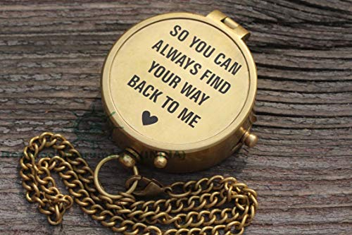 Roorkee Instruments India Survival Compass 2 So You Can Always Find Your Way Back to Me/Personalized Compass/Custom Engraved/Boyfriend Gift/Gift to Husband/Custom Wedding Gift for Groom